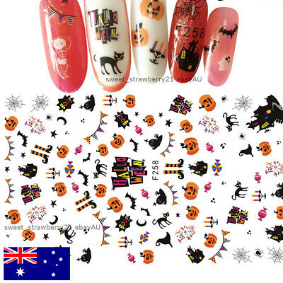 HALLOWEEN nail art sticker decal witch pumpkin black cat ghost trick or treat