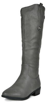 DREAM PAIRS Women's Faux Leather Side zipper Knee High Riding Boots (Wide Calf)