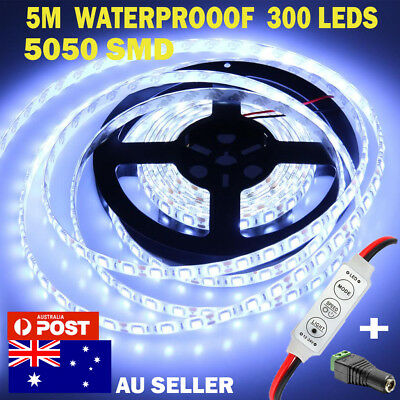 5m Flexible Bright LED Strip Lights 12V Waterproof 5050 SMD Cool White 300 Home