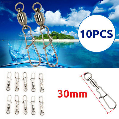 E614 10pcs Lures Stainless Steel Bearing Swivel Ring Snap Clips Fishing Connecto