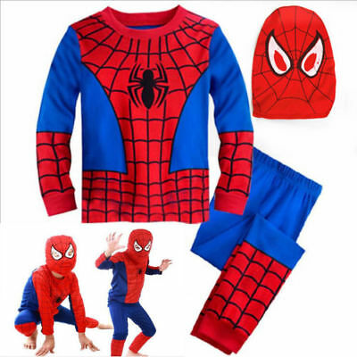 Boys Kids Superhero Fancy Dress Spiderman Cosplay Costume Clothes Outfits 3Pcs