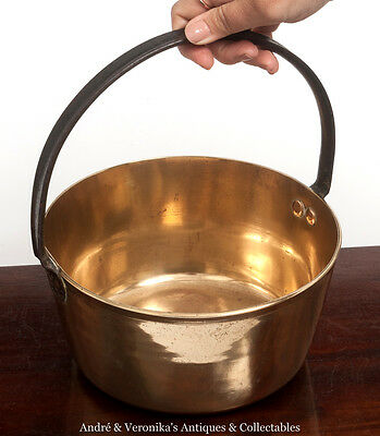 "Antique BRASS JAM POT 10"" (Preserve Making) Wrought Iron Handle Vintage Coal Bin"