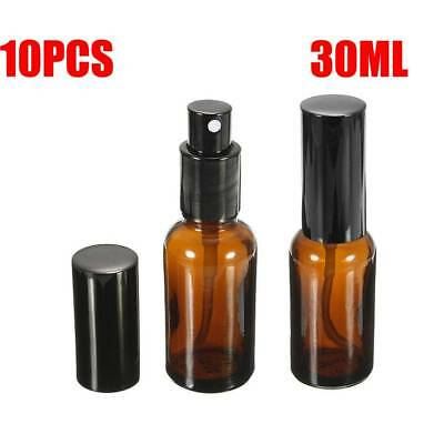 10/Lot 30ml Amber Glass Essential Oil Spray Bottles Mist Sprayer Containers Tool