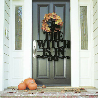 Cool Halloween Sign The Witch Is In Non-Woven Home Party Hanging Door Wall Decor