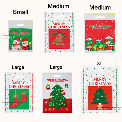 Christmas Plastic Carrier Bags Xmas Tree Santa Claus Toys Gift Shop Stall Retail