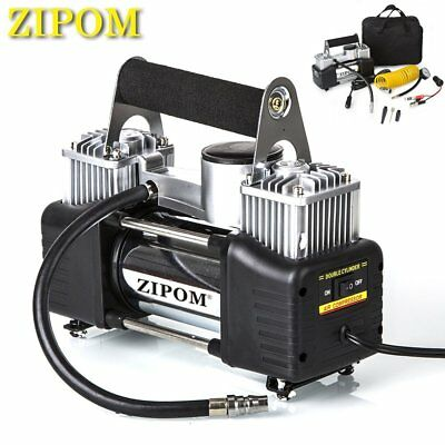 ZIPOM Double Cylinder 12v Car Air Compressor 150PSI Tyre Inflator Pump 80L/Min