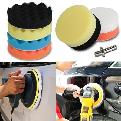 "11pcs 5"" Buffing Waxing Polishing Sponge Pads Kit Set For Car Polisher Drill UK"