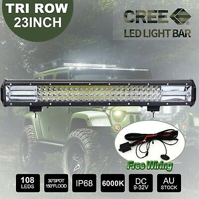 23inch CREE LED Light Bar 5D Len Spot Flood Offroad 4x4 Work Driving Bars+Wiring