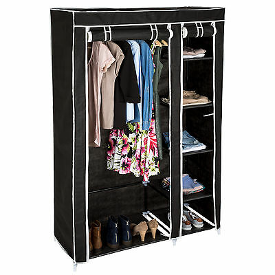 Double fabric wardrobe clothes storage organiser cupboard shelves cabinet black