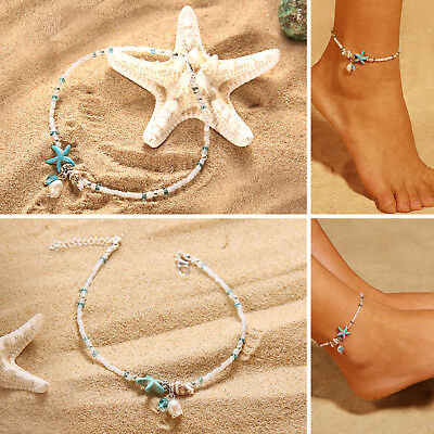 Adjustable Boho Starfish Anklet Beach Shell Ankle Bracelet Womens Foot Jewelry