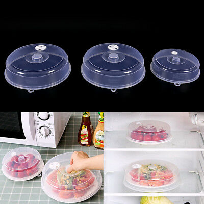 Clear Microwave Plate Cover Food Dish Lid Ventilated Steam Vent Kitchen FG