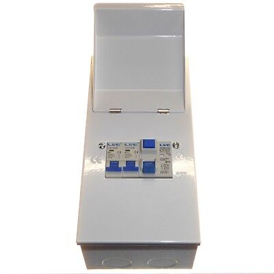2 Way Metal Consumer Unit 63A 30mA RCD Trip Switch and 6A + 32A Circuit Breaker
