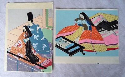 Two Vintage Japanese Woodblock Prints Girl With Long Black Hair