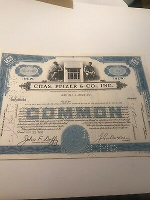 Chas. Pfizer Stock Certificate Blue, Less Than 100 Shares Authentic