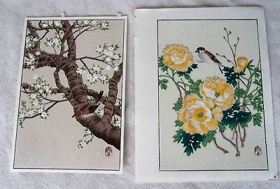 Two Vintage Japanese Woodblock Flower & Bird Prints  - Artist Suiho