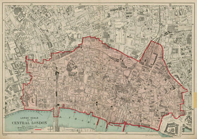 The CITY OF LONDON. The Square Mile. BACON 1919 old vintage map plan chart
