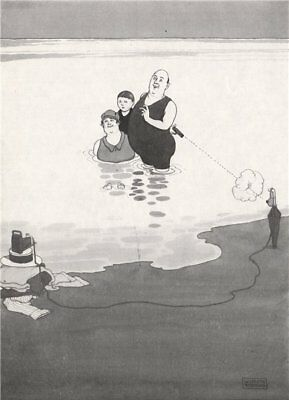 HEATH ROBINSON. Taking one's own photo while bathing. Selfie 1973 old print