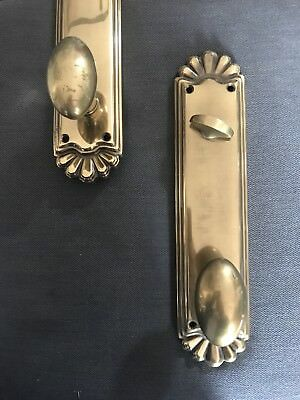 """Set of 2 Vintage LARGE SOLID BRASS DOOR HANDLES THUMB LATCH & 14"""" BACKPLATES"""