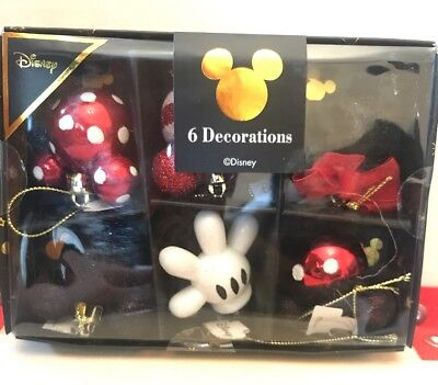 Disney Minnie Mickey Mouse Christmas Bauble Decoration Set Primark Red Black