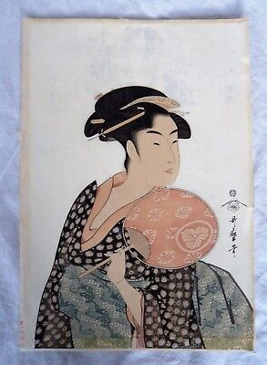 SUPERB ANTIQUE JAPANESE c1920 WOODBLOCK PRINT OF TAKASHIMA OHISA