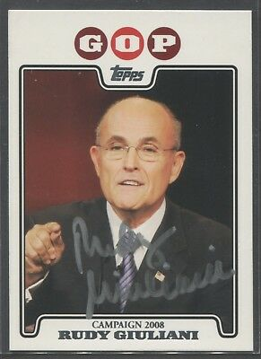 Rudy Giuliani New York 2008 Topps Campaign  Signed Card Authentic Auto Trump