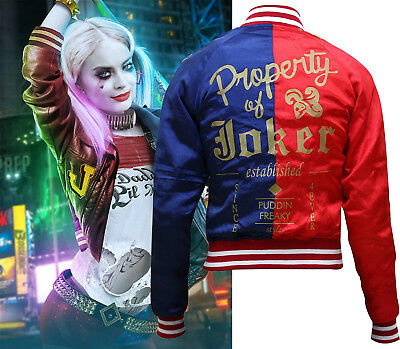 Harley Quinn Red And Blue Suicide Squad Cosplay Halloween Costume Satin Jacket