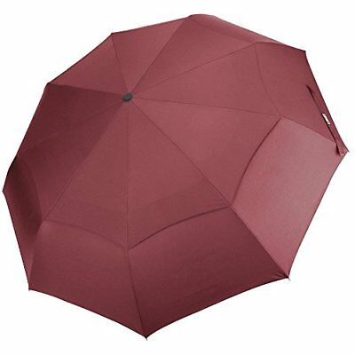 G4Free Compact Folding Travel Umbrella Windproof 48 Inch 9 Ribs Double Canopy Ve