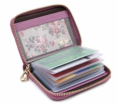 Women's Credit Card Case Wallet With 2 ID Window and Zipper Card Holder Purse (P