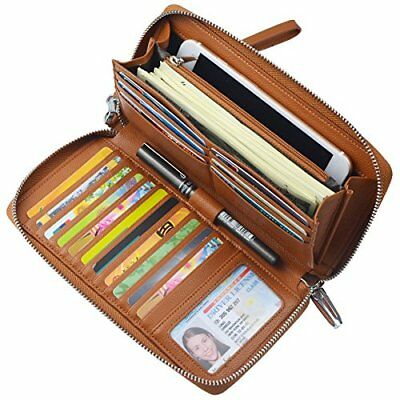 841e9da95856 WOMEN RFID BLOCKING Wallet Genuine Leather Zip Around Clutch Large Travel  Purse