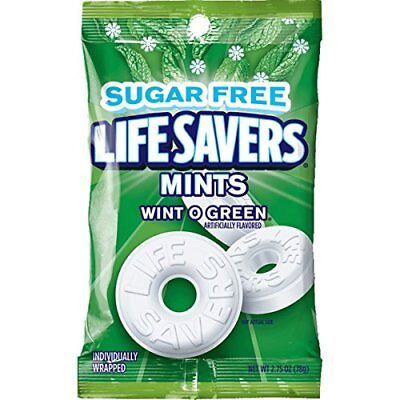 Life Savers Wint O Green Sugarfree Mints Candy Bag, 2.75 ounce (12 Pack) Fast Sh