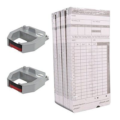 uPunch 2 Pack Ribbon/200 Card Combo for Gray HN4000 AutoAlign Calculating Time C