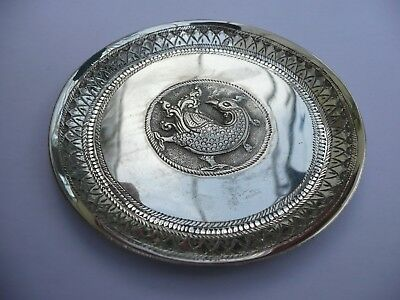"Superb Vintage Indio / Burmese Dragon Solid Silver Pin Dish 35.2 Grams 3.5"" Dia"