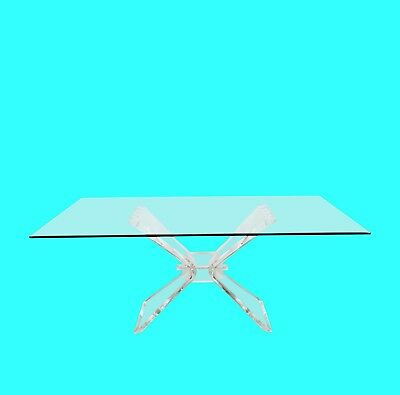 Mid-Century Modern Lucite and Glass Dining Table by Lion in Frost