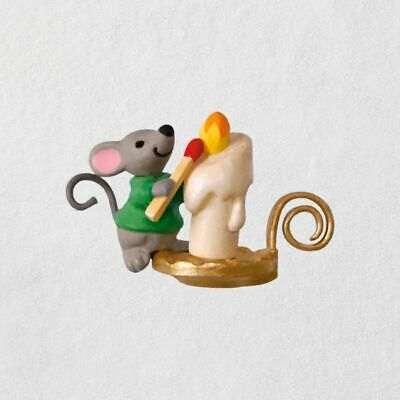"""2018 Hallmark Mini A Creature Was Stirring Mouse With Candle Ornament, 0.83"""""""