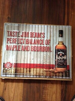 Jim Beam Maple And Whiskey Metal Sign New