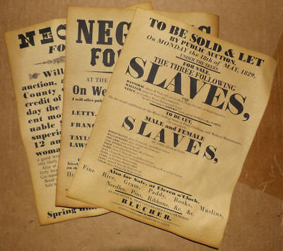Slave Auction Posters, Set of 3, repros, sale, hire, slavery, civil war, wanted