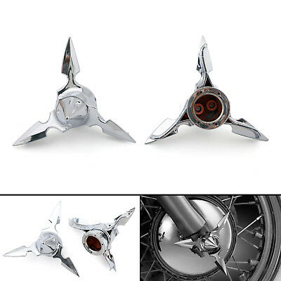 Chrome Spun Blade Spinning Front Axle Cap Nut Cover For Harley Softail Touring D