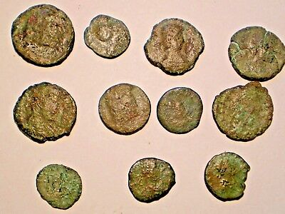 Genuine Lot Of 11 Ancient Unknown Roman Coins, Cleaned Condition, Lot #