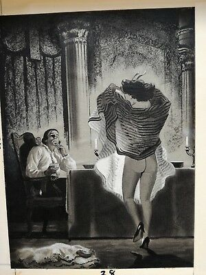 Original art Mens Adam Magazine pulp 50's includes overlay on board