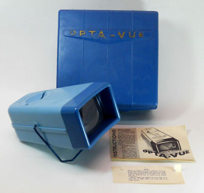 Blue OPTA-VUE 35mm Slide Viewer with Opthalene Slide File Carrying Case
