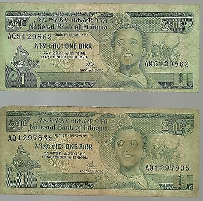 ETHIOPIA 1 Birr Africa Currency Note 2 Pieces Green Paper Money USA SHIPPED!