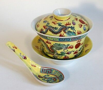Fine 20th century Chinese Republic yellow porcelain rice bowl, cover and spoon