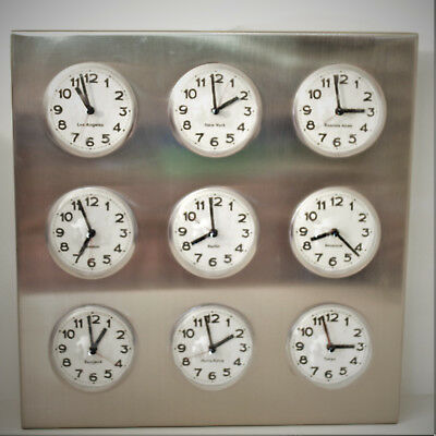 Vintage Stainless Steel 9 City World Time  Zone Wall Clock/ Decor / Office