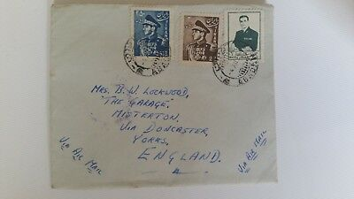Persian stamps on Airmail 1954 cover from Abadan Persia to Doncaster  England