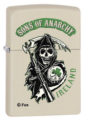 Zippo Custom Lighter Samcro Sons of Anarchy Ireland Reaper Clover Leaf Cream New