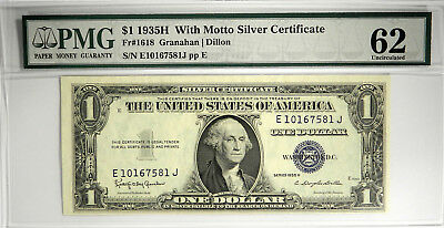 1935 H $1 Silver Certificate With Motto ~ Pmg 62!