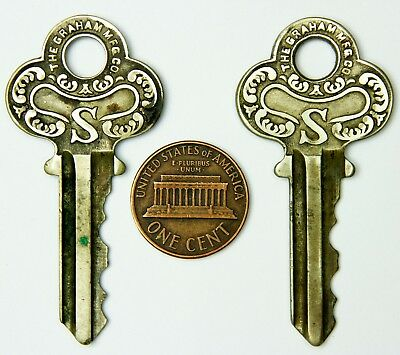 Lot Of 2 Vintage Ornate Graham Keys - Beautiful Art Deco Style, Matching Pair