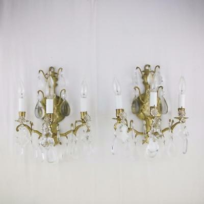 Fine Pair Bronze Louis XV Style Crystal Sconces 3 Light Antique French Fixtures