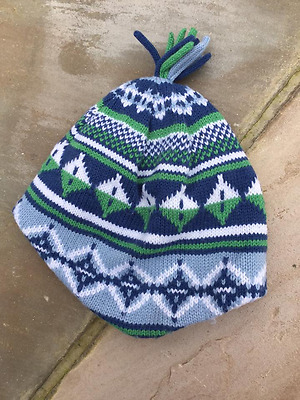 Blue mix Knitted Boys Hat. Size: 1-3 Years