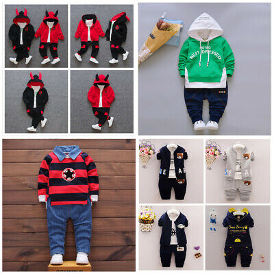 Toddler Boy 2 PCs Outfit Tracksuits Set Sport Casual Size 0-3 Years top+Jeans